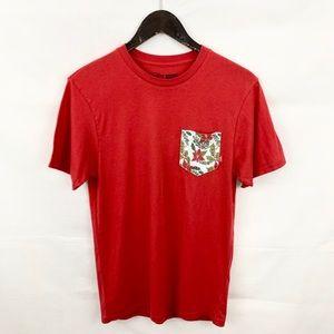 Vans Red Holly/Poinsettia Christmas Pocket T Shirt